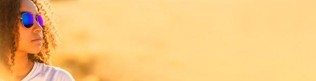 Mixed Race African American Girl Teen Sunglasses Panorama stock photography