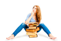 Beautiful thoughtful student of literature Stock Photography
