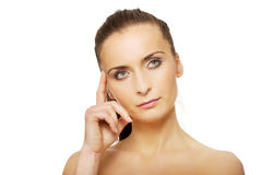 Beautiful thoughtful woman with make up. Royalty Free Stock Photos