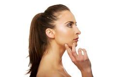 Beautiful thoughtful woman with make up. Stock Image