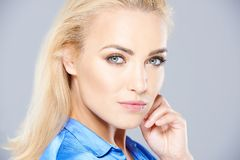 Beautiful thoughtful woman with a penetrating gaze stock images