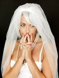 Beautiful Thoughtful Worried Young Bride Portrait Royalty Free Stock Photo