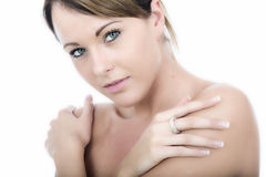 Beautiful Thoughtful Young Woman Hugging Shoulders. Attractive Beautiful Thoughtful Young Woman Hugging Shoulders Royalty Free Stock Image