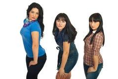 Beautiful  three brunette women Royalty Free Stock Photography