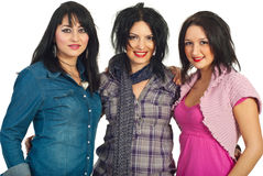 Beautiful three brunette women with makeup Stock Images