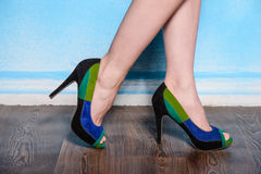 Beautiful three-colored suede shoes Royalty Free Stock Images