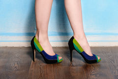 Beautiful three-colored suede shoes Stock Photos
