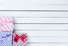 Beautiful three gifts Royalty Free Stock Image