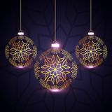 Beautiful three golden christmas balls design. Vector Stock Photography