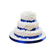 Beautiful three-layer cake isolated on white background Stock Photography