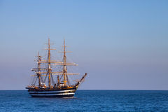 A beautiful three-masted sailboat in the sea Royalty Free Stock Photography