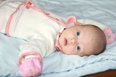 Beautiful three month baby girl royalty free stock photo