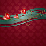 Beautiful three red diamond hearts. And gold ornaments Royalty Free Stock Photos