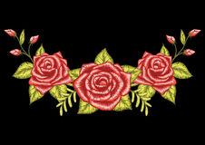 Beautiful three roses embroidery design for neckline. Stock Vector. Stock Photos