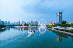 Beautiful tianjin haihe river in cloudy at dusk Royalty Free Stock Photography