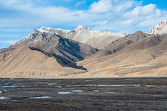 Beautiful Tibetan landscape with frozen lakes, snowy mountains a Stock Photo