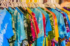 Beautiful Tie dye shirts and fabric for sale in night market at. Bangkok, Thailand Stock Photography