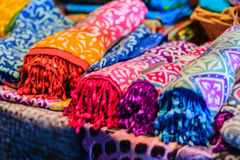 Beautiful Tie dye shirts and fabric for sale in night market at. Bangkok, Thailand Stock Photos