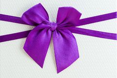 Beautiful tied bow on the gift close-up. Copy space for text Royalty Free Stock Images