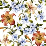 Beautiful tiger lilies and small blue flowers on twigs against white background. Seamless floral pattern. Watercolor painting. Hand painted illustration stock illustration