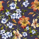Beautiful tiger lilies and small blue flowers on twigs on deep purple background. Seamless floral pattern. Watercolor painting. Hand painted illustration stock illustration