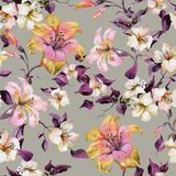 Beautiful tiger lilies and small white flowers on twigs against light background. Seamless floral pattern. Watercolor painting. Hand painted illustration royalty free illustration