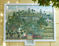 Beautiful tiled picture of Malaga botanical gardens. A tiled picture, at the entrance to the Malaga botanical gardens Royalty Free Stock Image
