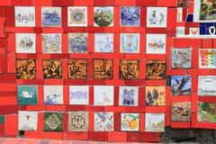 Beautiful Tiled Wall in Rio de Janeiro Brazil. The world famous Tiled Wall Selaron in Rio de Janeiro Brazil. It belongs to Chilean artist Jorge Selaron who royalty free stock photography