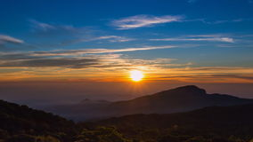 Beautiful Time Lapse Sunrise On Valley Of Thailand. Time Lapse Sunrise On Valley At Doi Inthanon National Park Of Chiang Mai, Thailand stock video