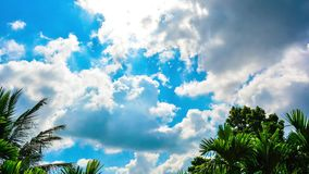Beautiful time-lapse video of white fluffy clouds moving over the blue sky. stock video