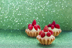 Beautiful tiny cupcakes with wild strawberries Royalty Free Stock Images