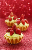 Beautiful tiny cupcakes with wild strawberries. Party time Royalty Free Stock Photography