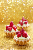 Beautiful tiny cupcakes with wild strawberries. Party time Royalty Free Stock Images