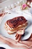 Beautiful tiramisu in a still life cookies, atmosphere, interior, elegance, luxury Stock Photo