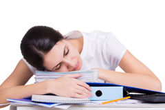Beautiful tired business woman sleeping Royalty Free Stock Photography