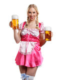 Beautiful tiroler oktoberfest woman with beer Royalty Free Stock Photo