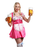 Beautiful tiroler oktoberfest woman with beer Royalty Free Stock Images