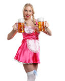 Beautiful tiroler oktoberfest woman with beer Royalty Free Stock Image