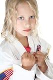 Beautiful TKD Girl. Beautiful six year old girl in TDK uniform Stock Image