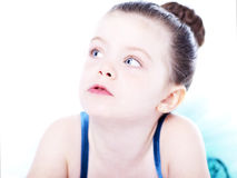 Beautiful toddler ballerina on white background Royalty Free Stock Images