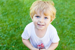 Beautiful toddler boy with glass of berry ice cubes Royalty Free Stock Image