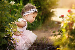 Beautiful Toddler a Garden Looking at Flowers Stock Image