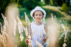 Beautiful toddler girl with long blond hair travels in colorful yellow field Stock Photo