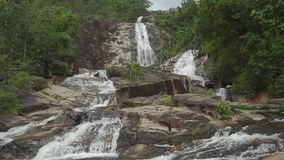Beautiful Ton Ngan Chang waterfall in Thailand. Clip stock video footage