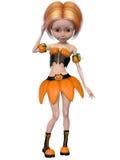 Beautiful toon pumpkin girl Stock Photo