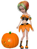 Beautiful toon pumpkin girl Royalty Free Stock Photography