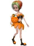 Beautiful toon pumpkin girl Stock Image