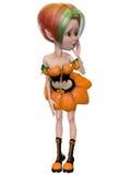 Beautiful toon pumpkin girl Stock Images