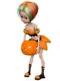 Beautiful toon pumpkin girl Royalty Free Stock Image
