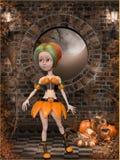 Beautiful toon pumpkin girl Royalty Free Stock Photos